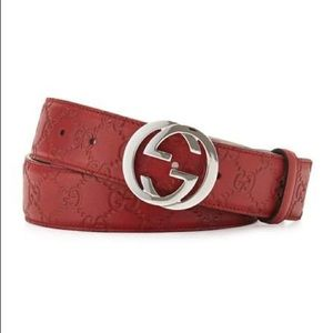 Gucci GG Guccissima Red Leather Belt Size 90 -36